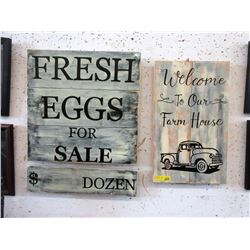 """Two New Wood """"Farm"""" Signs"""