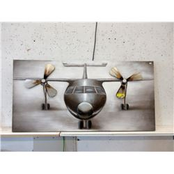 Large 2D Multi-Media Canvas Airplane Wall Art