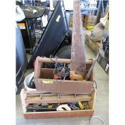 Wood Tool Caddies & Contents with Boxes of Tools