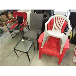 4 Assorted Chairs & Side Table - Store Returns