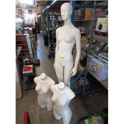 Full Size Female Mannequin & 2 Torso Mannequins
