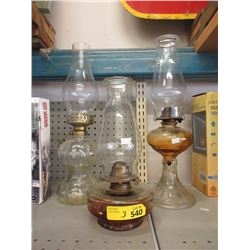 3 Vintage Oil Lamps with Chimneys