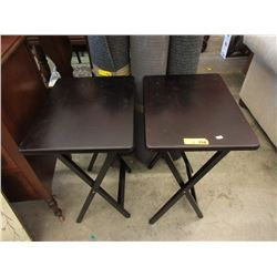 Pair of Folding Wood TV Tables