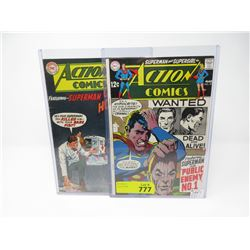 Two 1969 12¢ DC Action Comics #358 & #374