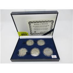 Five Franklin Mint 90% Silver Half Dollars