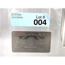 1 Oz. .999 Fine Titanium Investor Bar