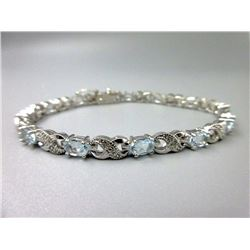 7.15 CT Blue Topaz & Diamond Tennis Bracelet