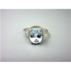 3.5 CT Blue Topaz & Diamond Solitaire Ring