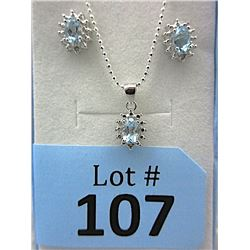 New Blue Topaz & Diamond Earrings & Pendant Set