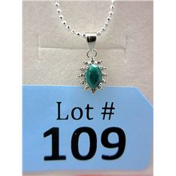 Emerald & Diamond Sterling Silver Pendant