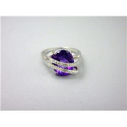 Unique Amethyst & Diamond Wrap Design Ring