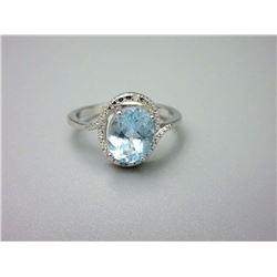 Blue Topaz & Diamond Sterling Silver Cocktail Ring