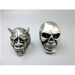 2 Brand New Skull Biker Rings
