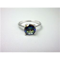 Ocean Blue Mystic Topaz Solitaire Ring