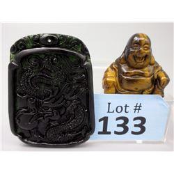 Jade Dragon Pendant & Tiger's Eye Buddha