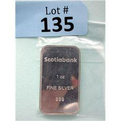 1 Oz. .999 Fine Silver Scotiabank Bar