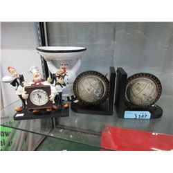 Clock, Pedestal Candy Dish & a Pair of Bookends