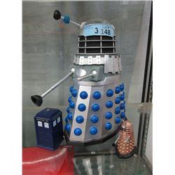 2 Dr. Who Daleks and a Mini Phone Box