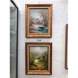 Two R. Verne Vintage Wood Framed Oil Paintings