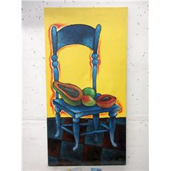 Signed Original Painting of Chair by Cuban Artist