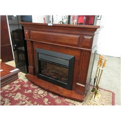 Electric Fireplace in Wood Mantle Surround