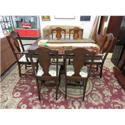 Vintage Walnut Table with 6 Chairs & 3 Leaves