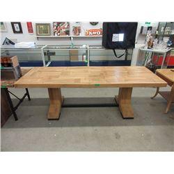 Wood Parquet Dining Table - Floor Model