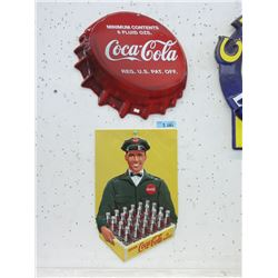 2 Embossed Tin Coca-Cola Signs
