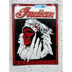 """Vintage Porcelain 12 x 16"""" Indian Motorcycle Sign"""