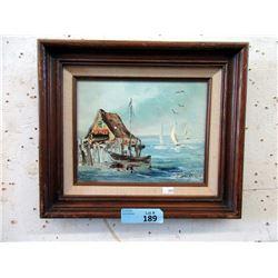 Vintage Van Gores Wood Framed Oil Painting