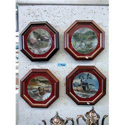 4 Wood Framed Ltd. Edition Collector Plates
