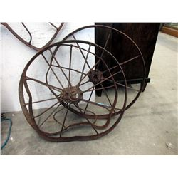 "Three 26"" Metal Wagon Wheel Rims"