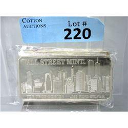 Rare10 Oz Wall Street Mint .999 Silver Bar