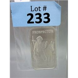 1 Oz Prospector/Mule motif .999 Silver Bar
