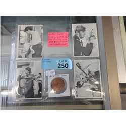 Four 1960's Beatles Cards and Coin