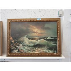 Large Vintage Giclee Print on Board Seascape