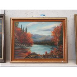 Large 1963 Oil on Canvas Painting by R. A.Watson