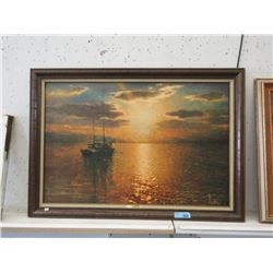 Large Runci Giclee Print on Board  Golden Sunset