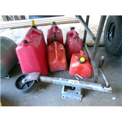 5 Gas Cans & a Boat Trailer Wheel Jack