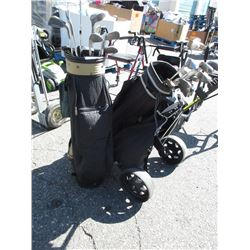 2 Golf Bags with Assorted Clubs - One has a caddy