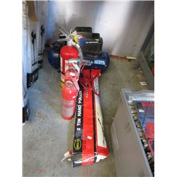 2 Ton Hand Puller, Compressor & 3 Fire Extinguishers