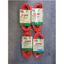 4 New 20 Foot Outdoor Extension Cords