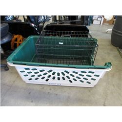 Wire Pet Cage & Large Plastic Kennel