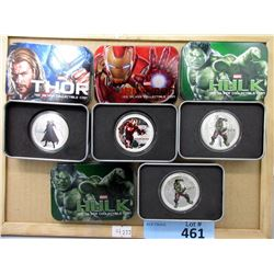 Four Marvel Silver Plated Super Hero Medallions