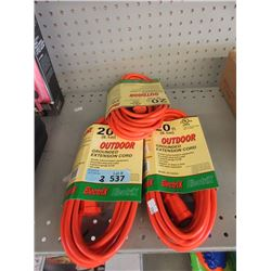 3 New 20 Foot Outdoor Grounded Extension Cords