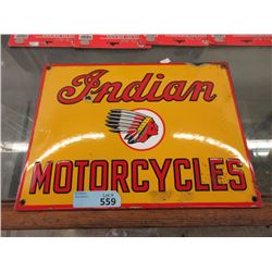 "Vintage 12 x 16"" Indian Motorcycle Porcelain Sign"
