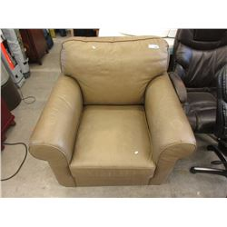 Large Green Leather Arm Chair