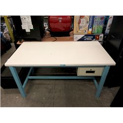 Large Metal Framed Desk with Drawer