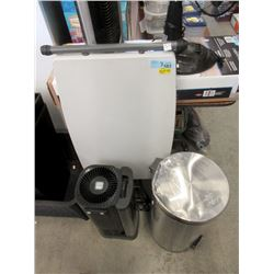 Small Folding Table, Air Cleaner & Trash Can
