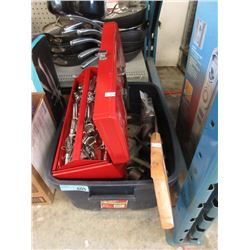 Tote Containing Tools, Metal Tool Box & Hand Saw